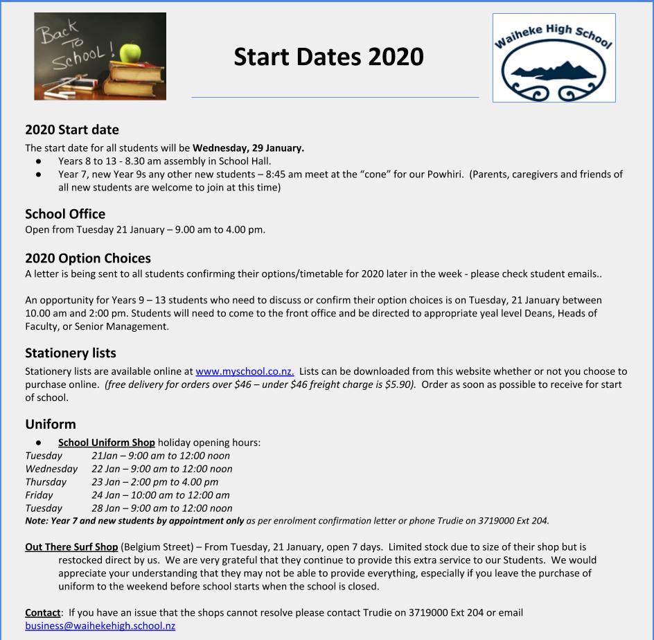 Start Dates 2020